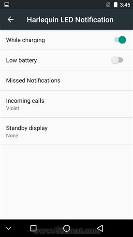 Notification LED settings