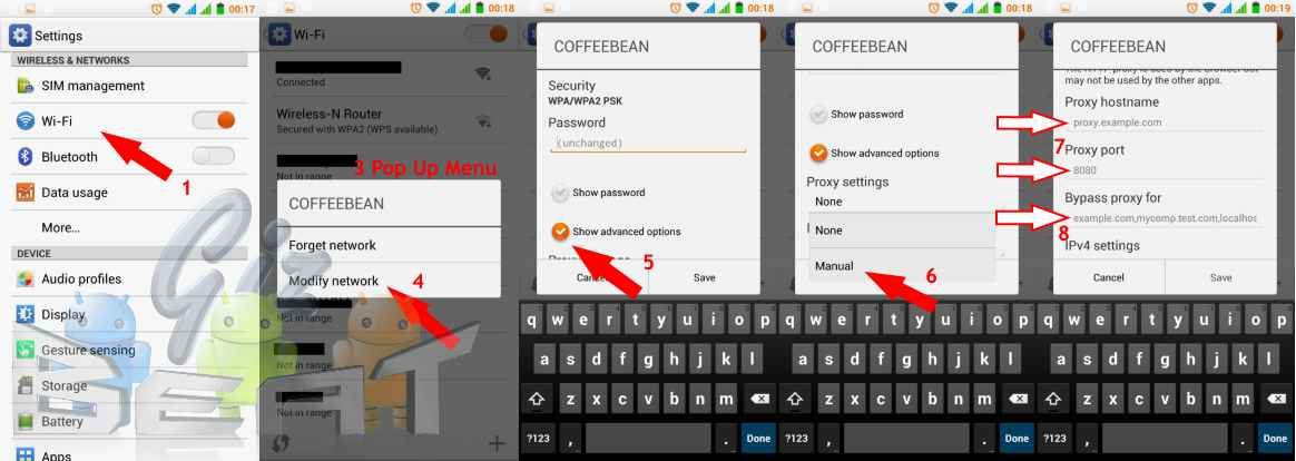 How to configure proxy settings on android device and bind for Proxe vigila 3 manuale