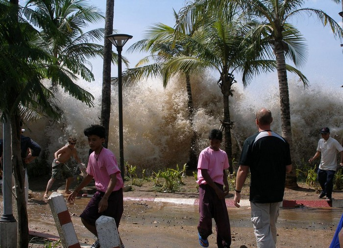 The first waves of the 2004 Indian Ocean Tsunami, which killed over 200,000 people, hit the shore. Source: Unknown Photographer