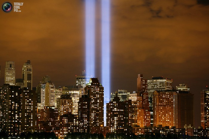 The Tribute in Lights shines on the skyline of lower Manhattan in New York. [2006] Source: The Atlantic