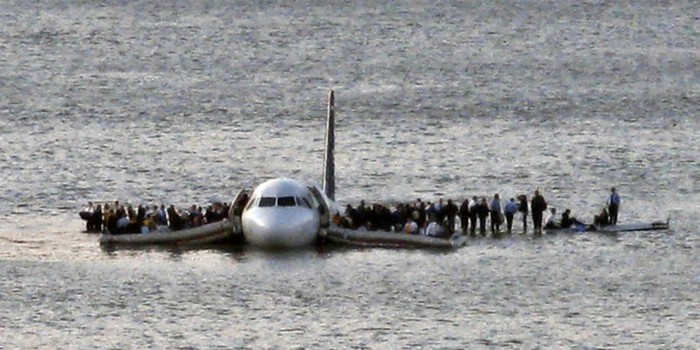 US Airways Flight 1549 floats on the Hudson river after crash landing, miraculously, everyone survived [2009] Source: Unknown Photographer