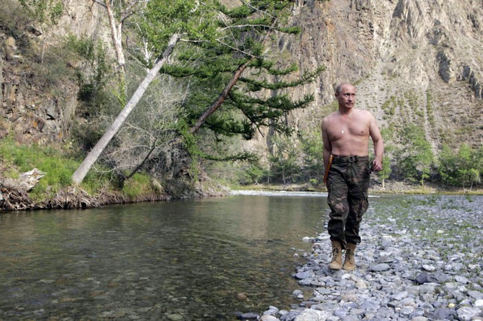 Vladimir Putin shirtless while vacationing and hunting in Siberia. The now Russian President is a judo black belt. [2009] Source: Unknown Photographer