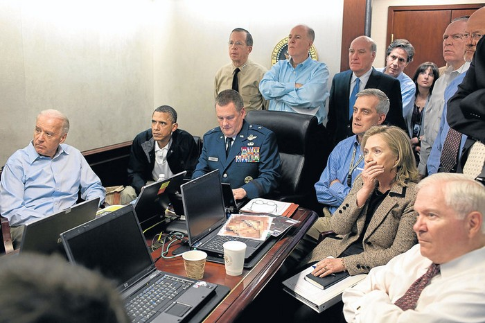 Barack Obama and Government staff watch as commandos conduct a raid, which ends with the killing of Osama bin Laden [2011] Source: Unknown Photographer