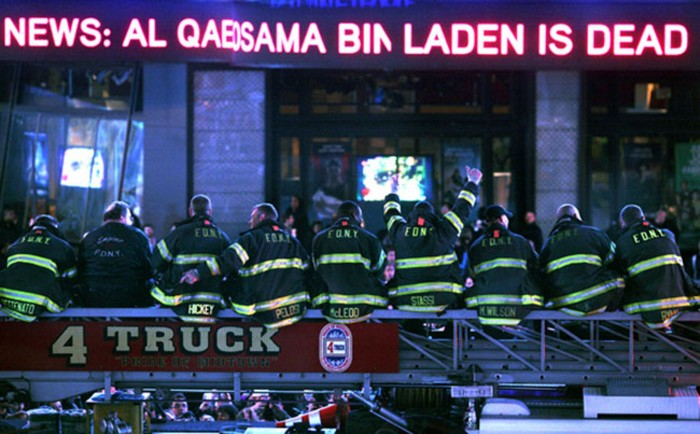 New York firefighters, many of whom lost friends in the 9/11 attacks, learn of Osama bin Laden's death [2011] Source: Unknown Photographer