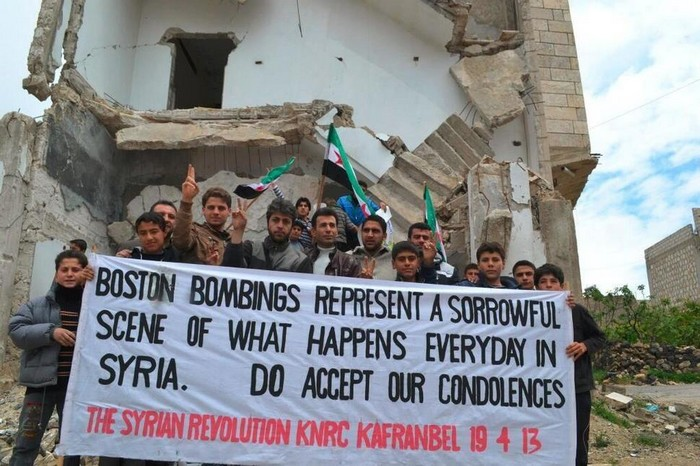 The anti-government Syrian town of Kafr Anbel sends a message to Boston after the marathon bombing. [2013]