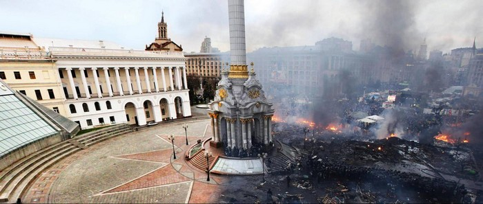 Kiev's Independence Square before and after the revolution [2014] Source: reddit.com