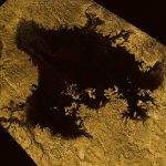 Radar image of a liquid methane lake on moon Titan