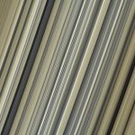 A closeup shot of Saturn's B ring