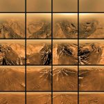 Shots from the Huygens probe as it parachuted into moon Titan's atmosphere