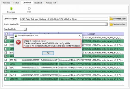 How to fix SP Flash Tool image checksum failed