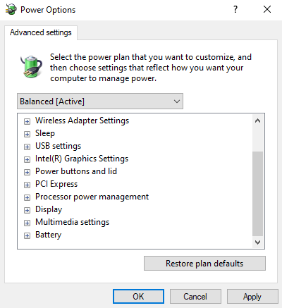 Missing processor power management settings option in advanced power options settings