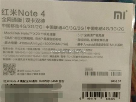 Xiaomi Redmi Note 4 review official specs from Xiaomi